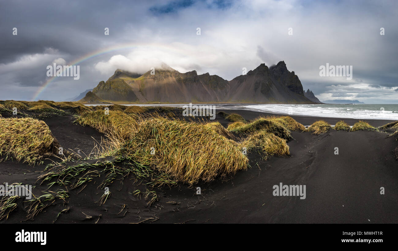 it rained all day long…  since two days! wo we just tried our luck and went to Stokksnes to see the Vestrahorn and it really worked out. there was a v - Stock Image