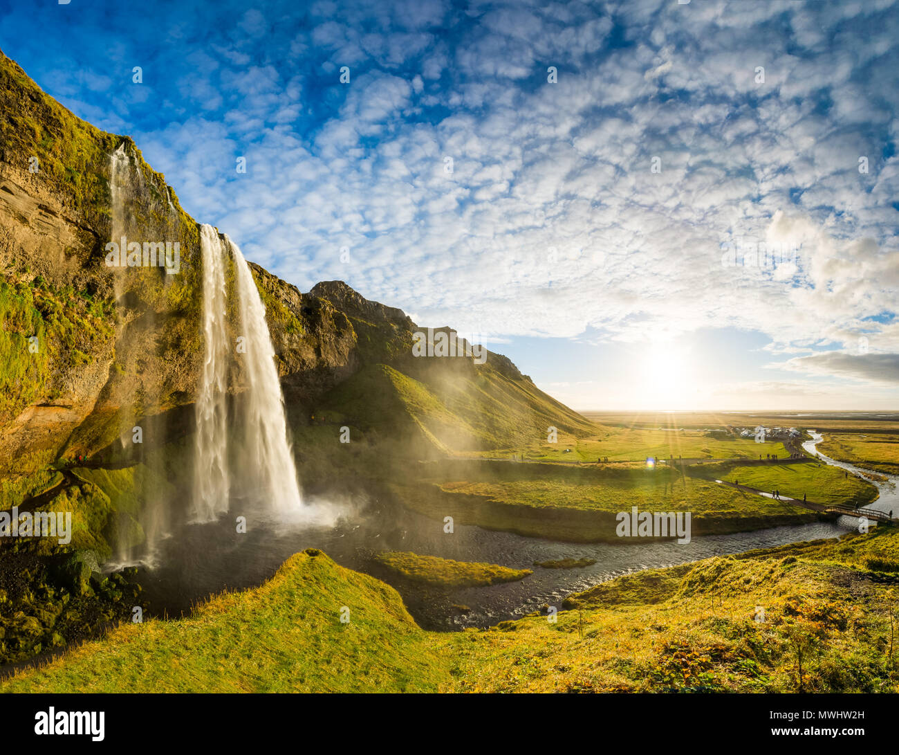 panoramic shot of one of the most beautiful waterfalls in Iceland. - Stock Image