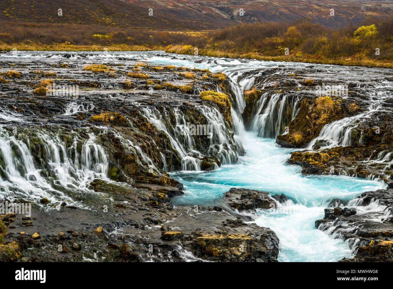 natural whirl pool at Bruarfoss, Golden Circle, Iceland - Stock Image