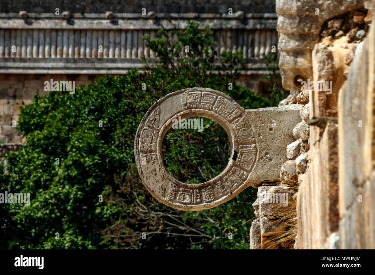 A stone ring for playing ball. Maya civilization. - Stock Image