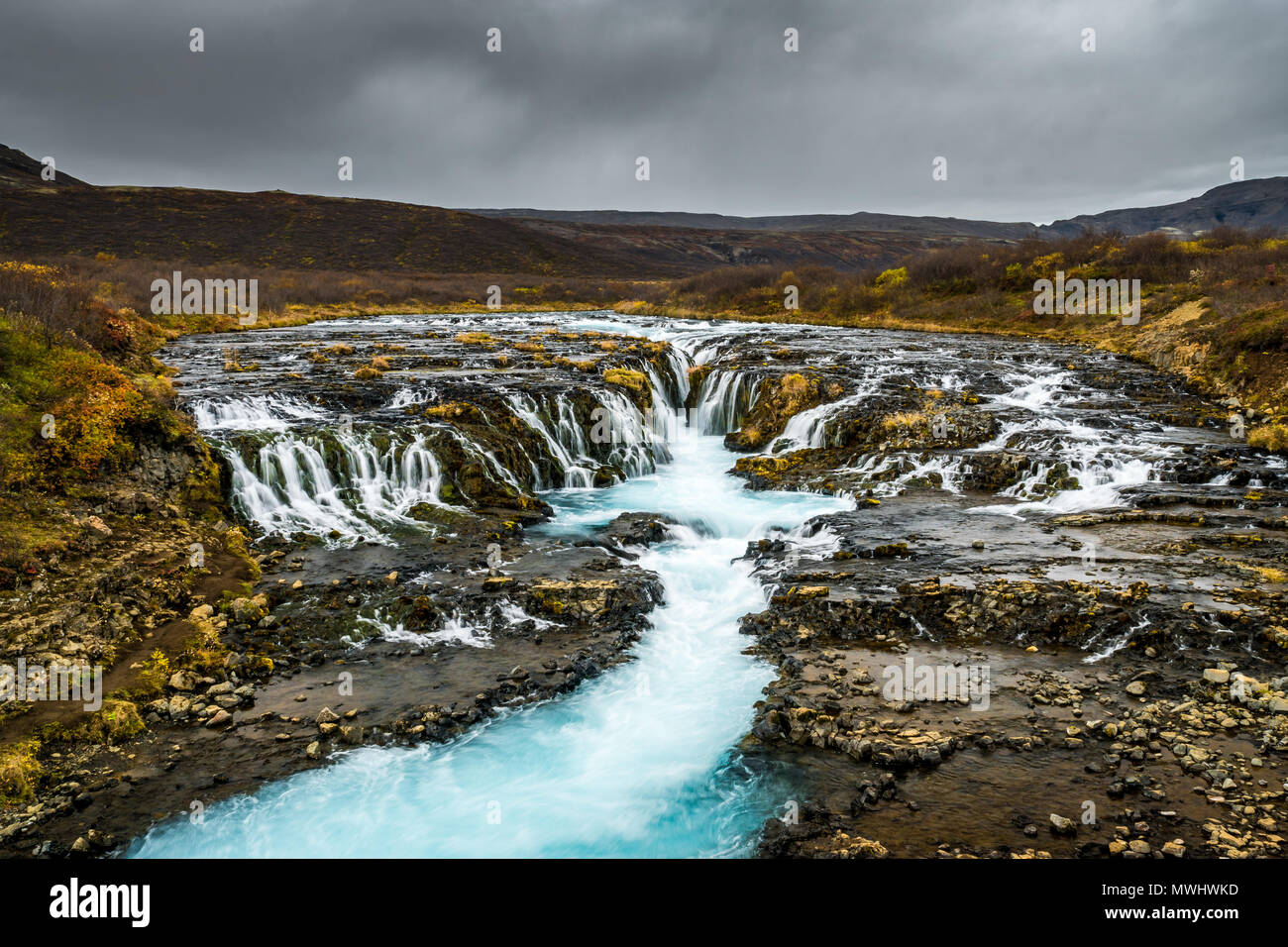 just a small but very beautiful Waterfall along the Golden Circle. Definitely one of my favorite locations in Iceland but somewhat hard to get to, sin - Stock Image