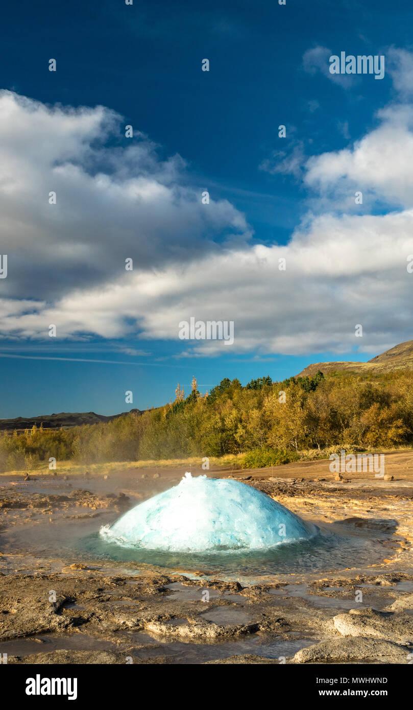 Eruption of Strokkur Geysir at Geysir, Iceland - Stock Image