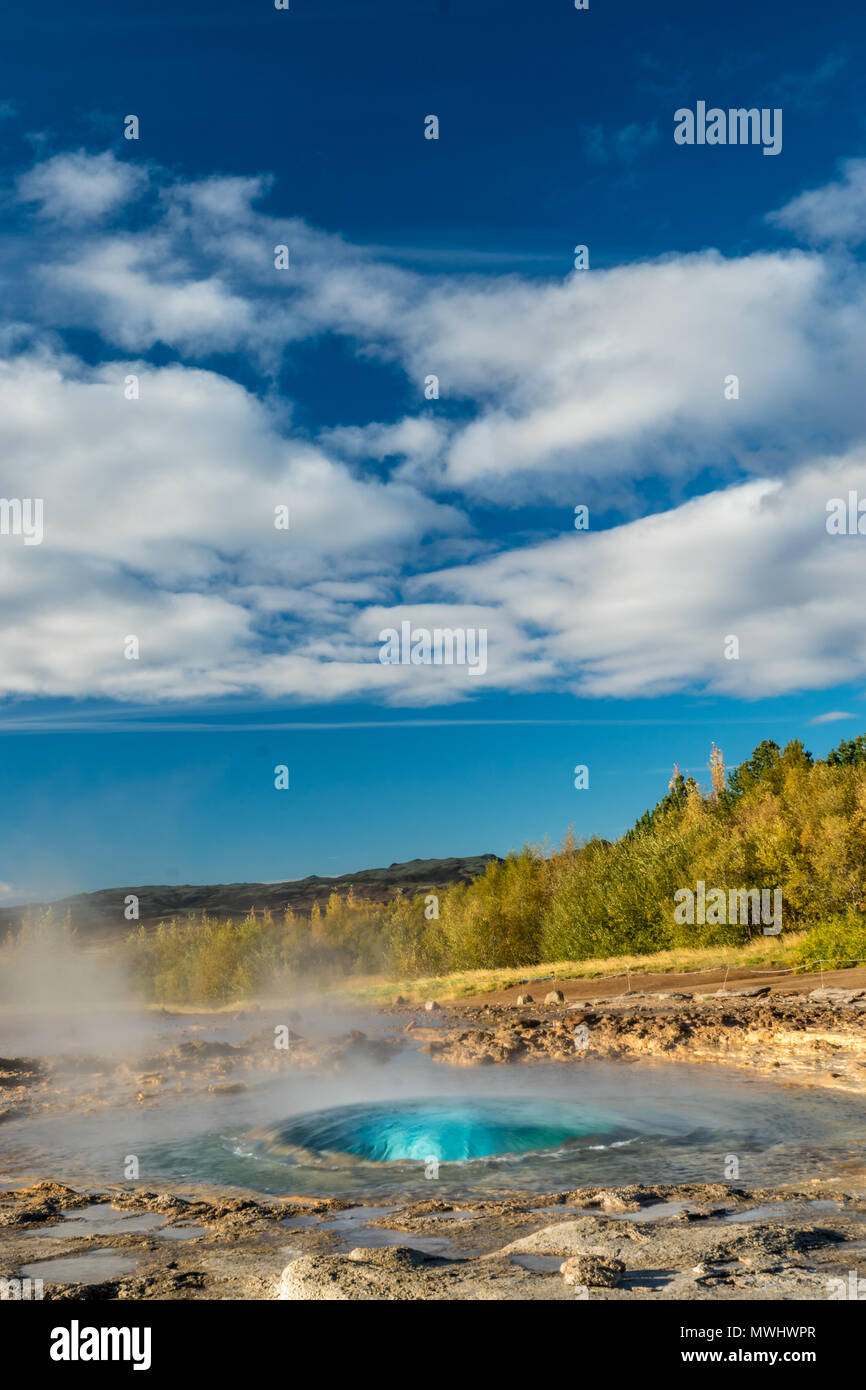 pre-eruption bubble of Strokkur Geysir at Geysir, Iceland - Stock Image