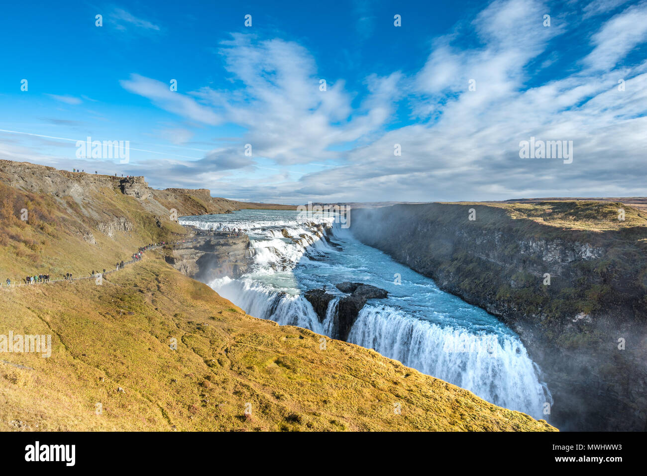 Gullfoss Waterfall at Golden Circle in Iceland - Stock Image