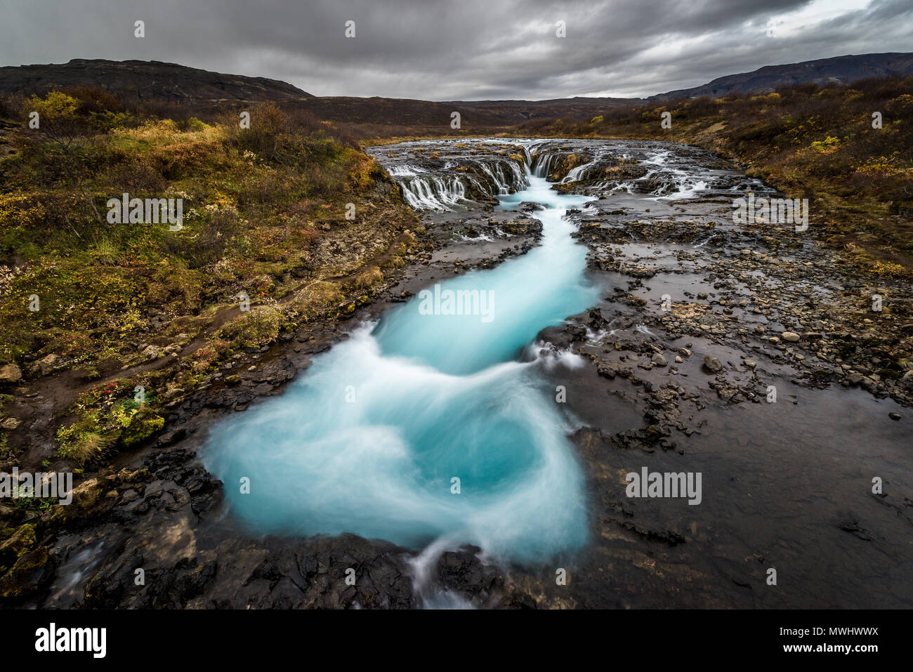 natural whirlpool at bruarfoss, iceland - Stock Image