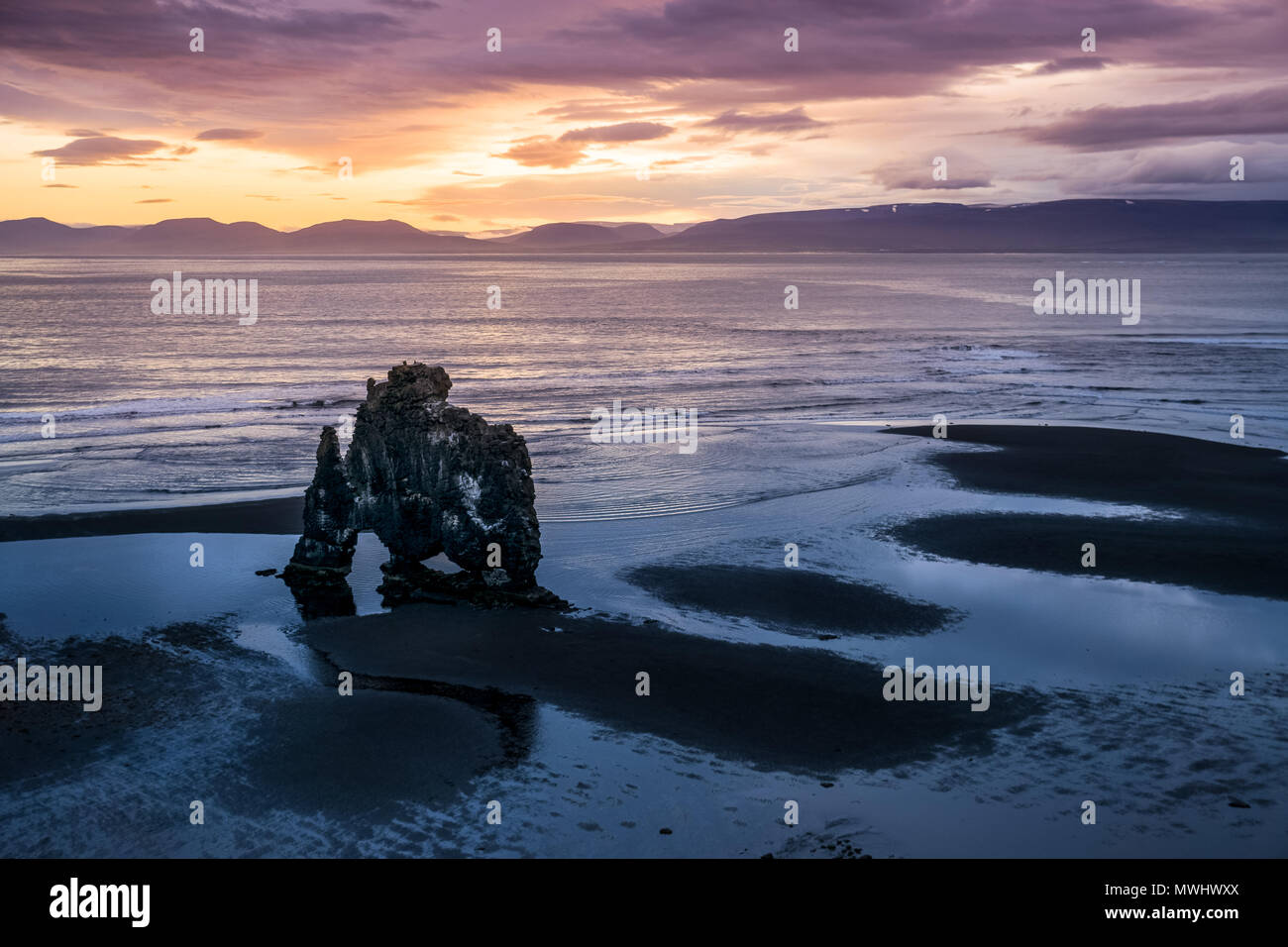 famous hvitserkur rock formation on the shore of north iceland - Stock Image