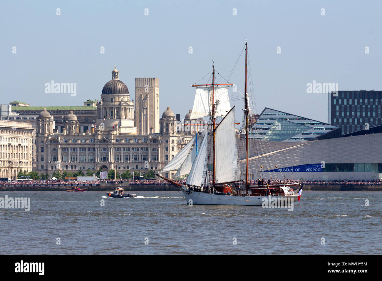 Tall ship Belle Poule on the River Mersey during the parade of sail during the Tall Ships Festival in Liverpool May 2018 - Stock Image