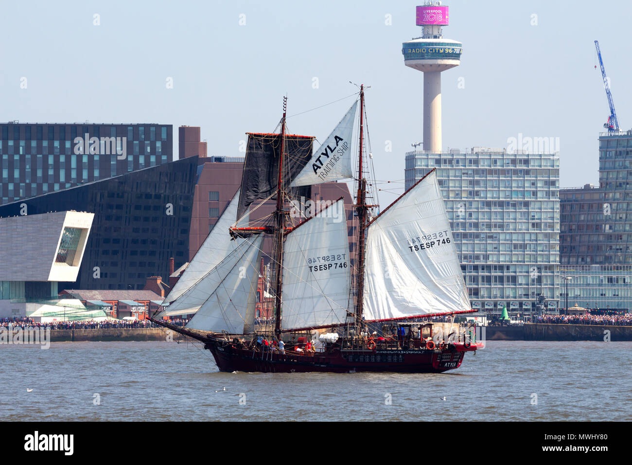 Tall ship Atyla on the River Mersey during the parade of sail during the Tall Ships Festival in Liverpool May 2018 - Stock Image