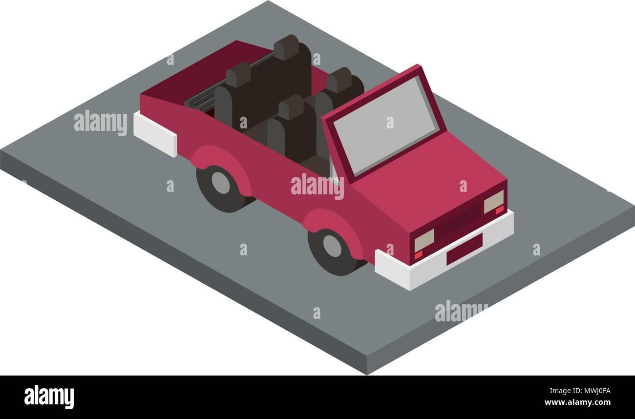 convertible car isometric icon - Stock Image