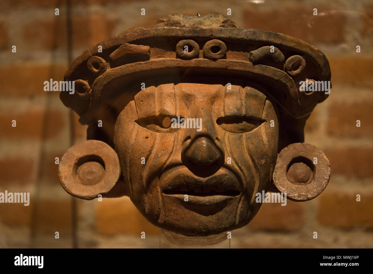 Museum of Cultures of Oaxaca, mask with human face, Oaxaca, Mexico - Stock Image