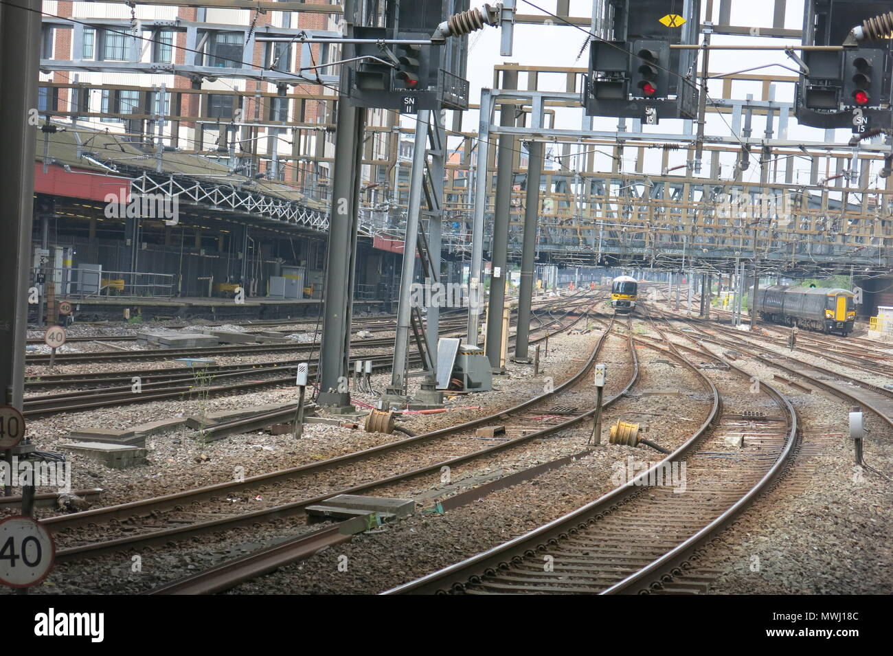 A view of the railway tracks whilst departing London Paddington Station, from aboard the Flying Scotsman on its Chilterns Tour, 31 May 2018 - Stock Image
