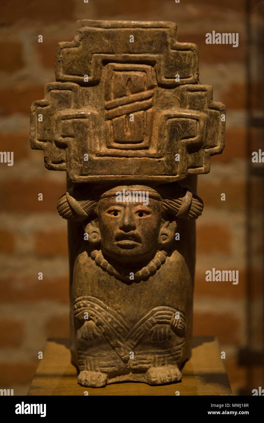 Museum of Cultures of Oaxaca, funeral urn with human face, Oaxaca, Mexico - Stock Image
