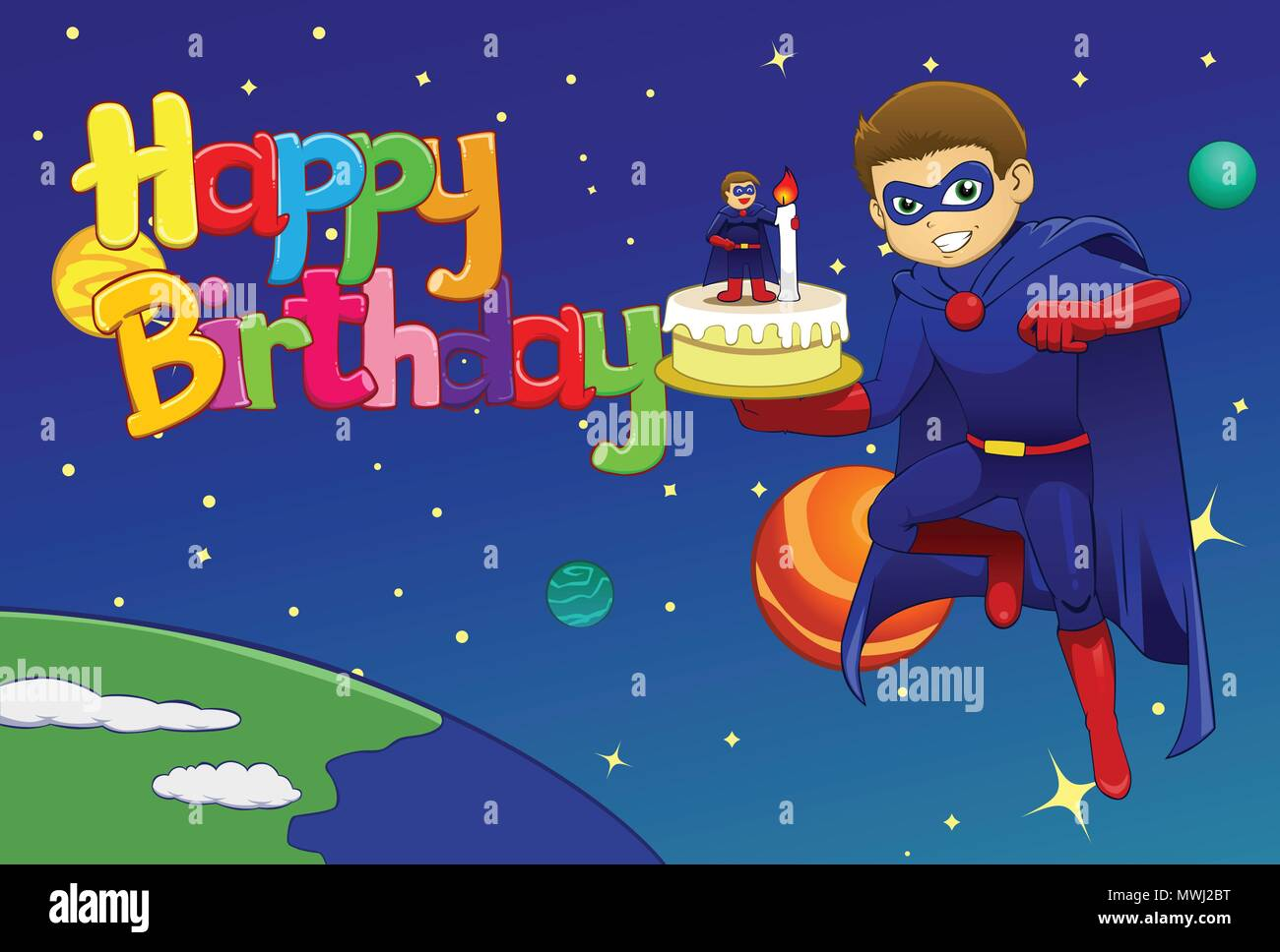 Brilliant Vector Illustration Of Hero Bring Birthday Cake To Outer Space Funny Birthday Cards Online Sheoxdamsfinfo