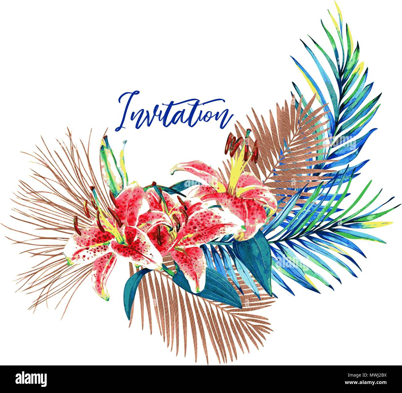 Tropical bouquet vector card beautiful watercolor palm leaves and tropical bouquet vector card beautiful watercolor palm leaves and lilies colorful jungle foliage with bronze metallic elements and text invitation stopboris Choice Image