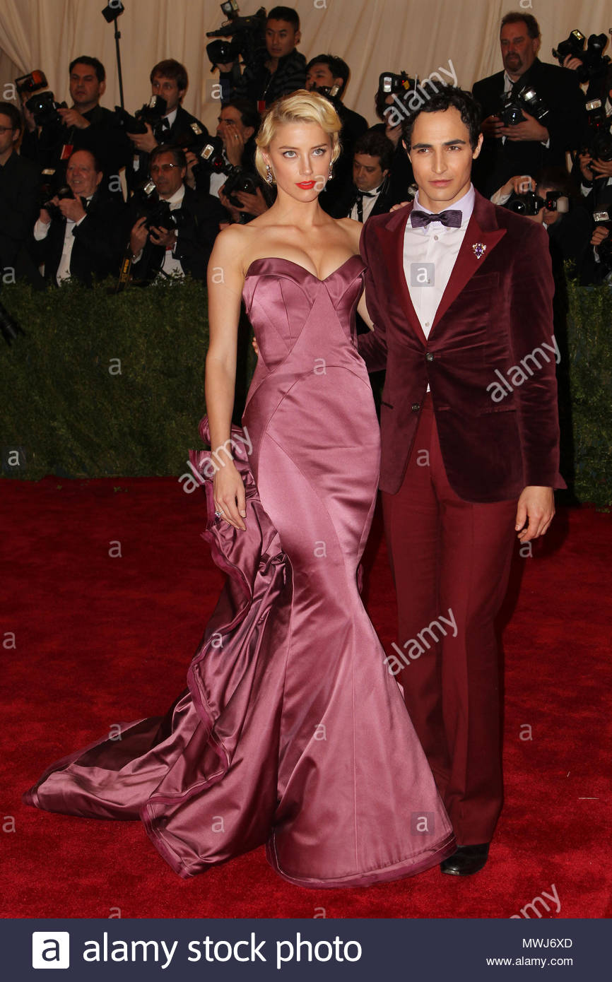 Zac Posen, Amber Heard. Celebrities wear satin and lace gowns to the ...