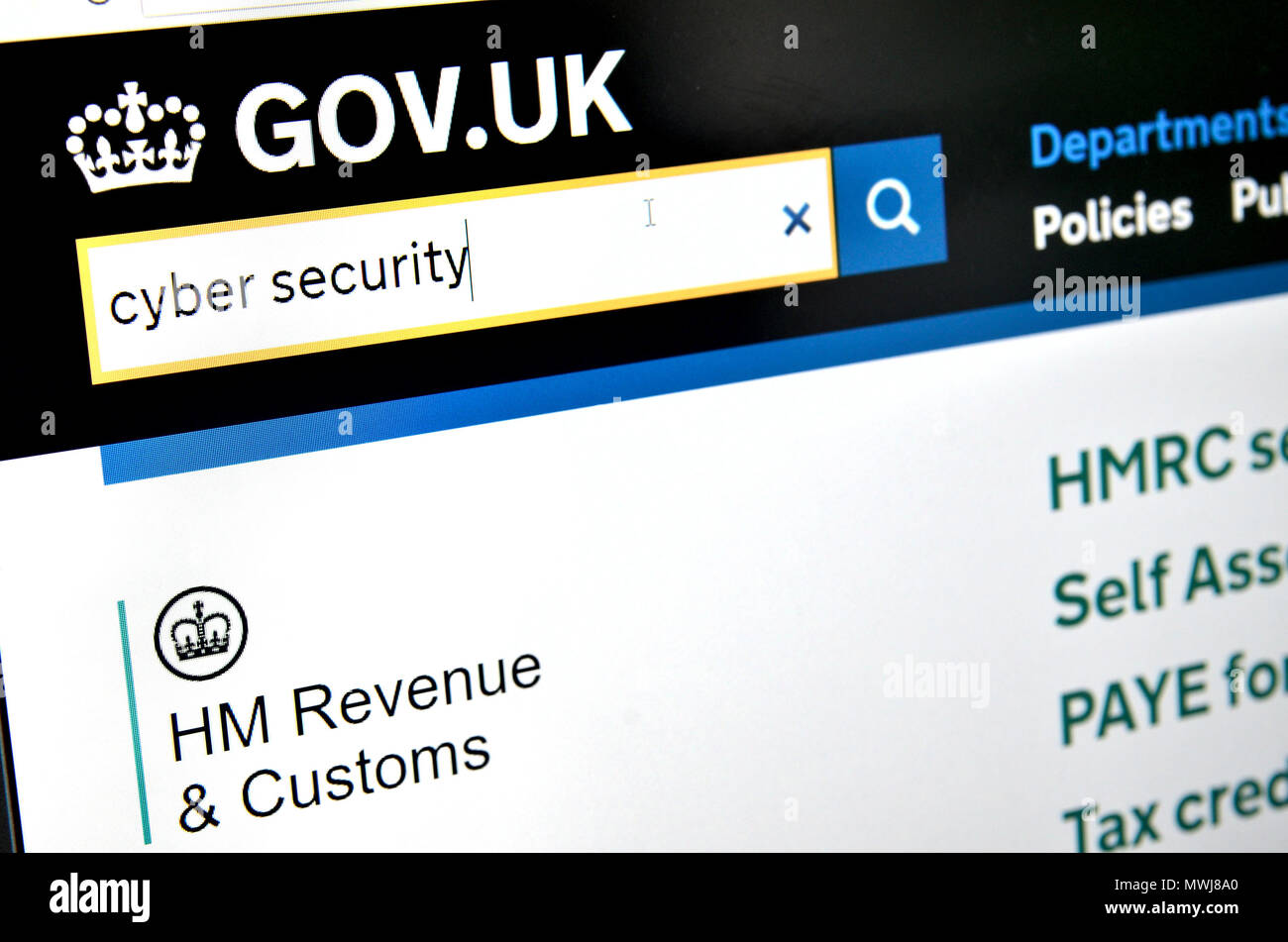 British Government HMRC Tax website: cyber security - Stock Image
