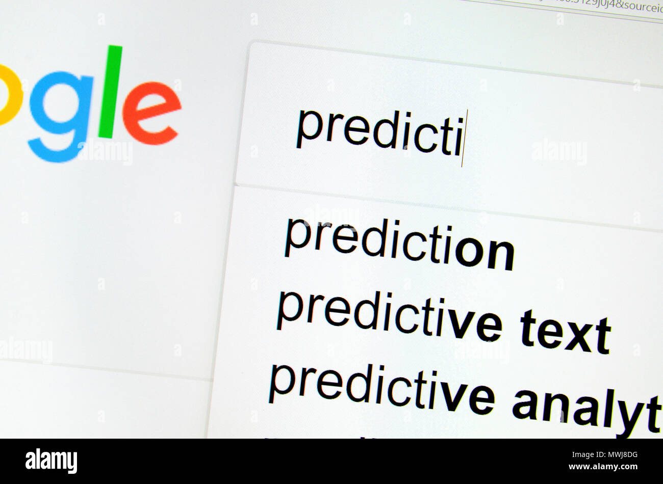 Computer screenshot: predictive text in a search box - Stock Image