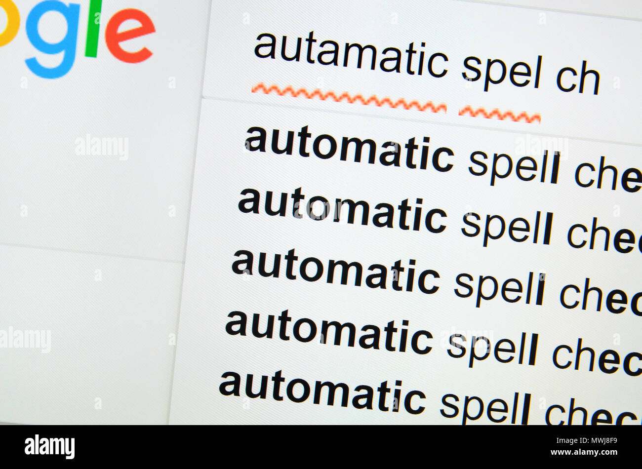 Computer screenshot: automatic spelling correction Stock Photo
