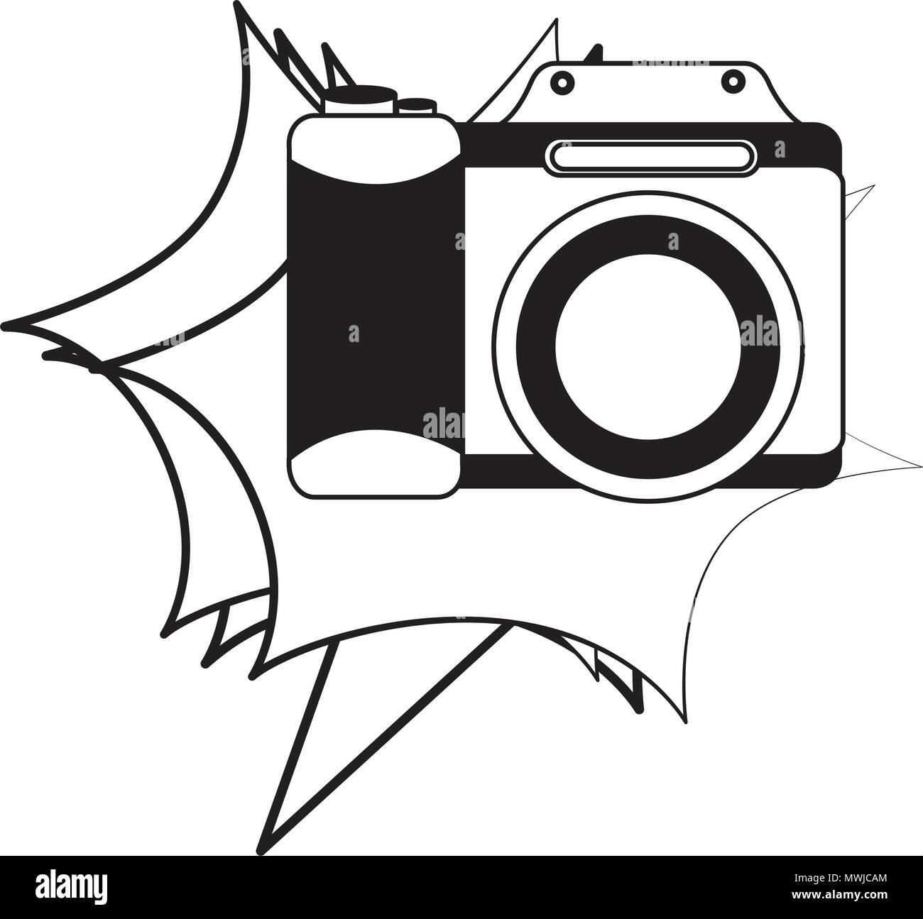 photographic camera lens retro vintage vector illustration black and white - Stock Vector