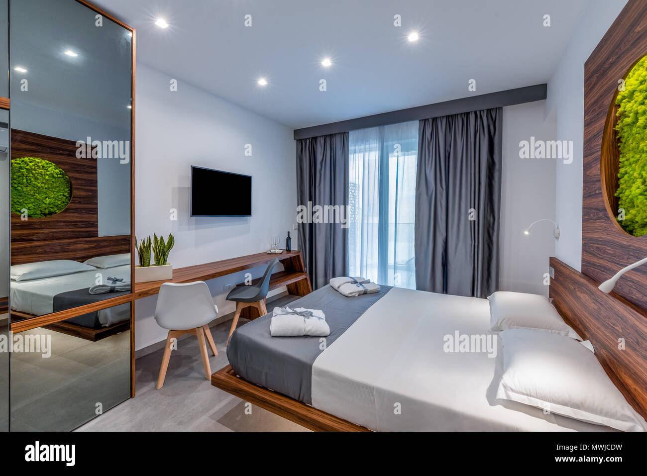 Hotel room with modern interior stock photo alamy
