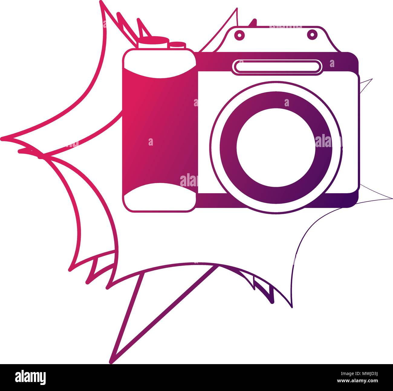 photographic camera lens retro vintage vector illustration neon design - Stock Vector