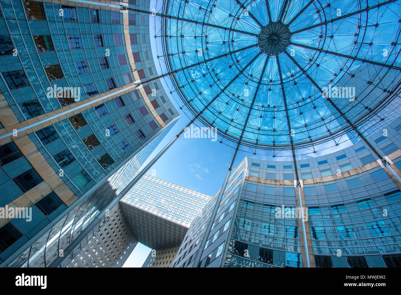 View looking up at modern architecture of La Defense, Paris France Stock Photo