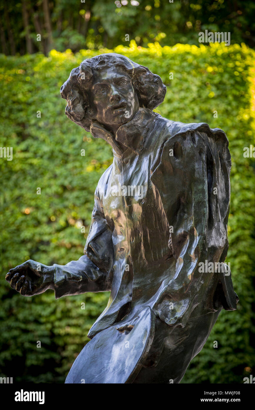 Auguste Rodin's Bronze statue of painter Claude Lorrain - sculpture on display in the garden of Musee Rodin, Paris France - Stock Image