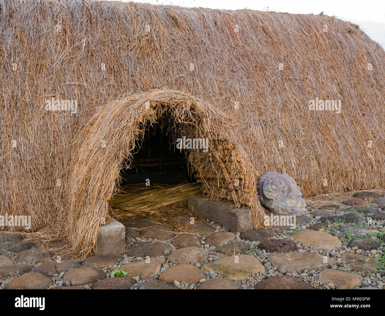 Entrance of reconstructed traditional thatched boat shaped house called Hare Paenga, Akahanga, Easter Island, Rapa Nui, Chile - Stock Image