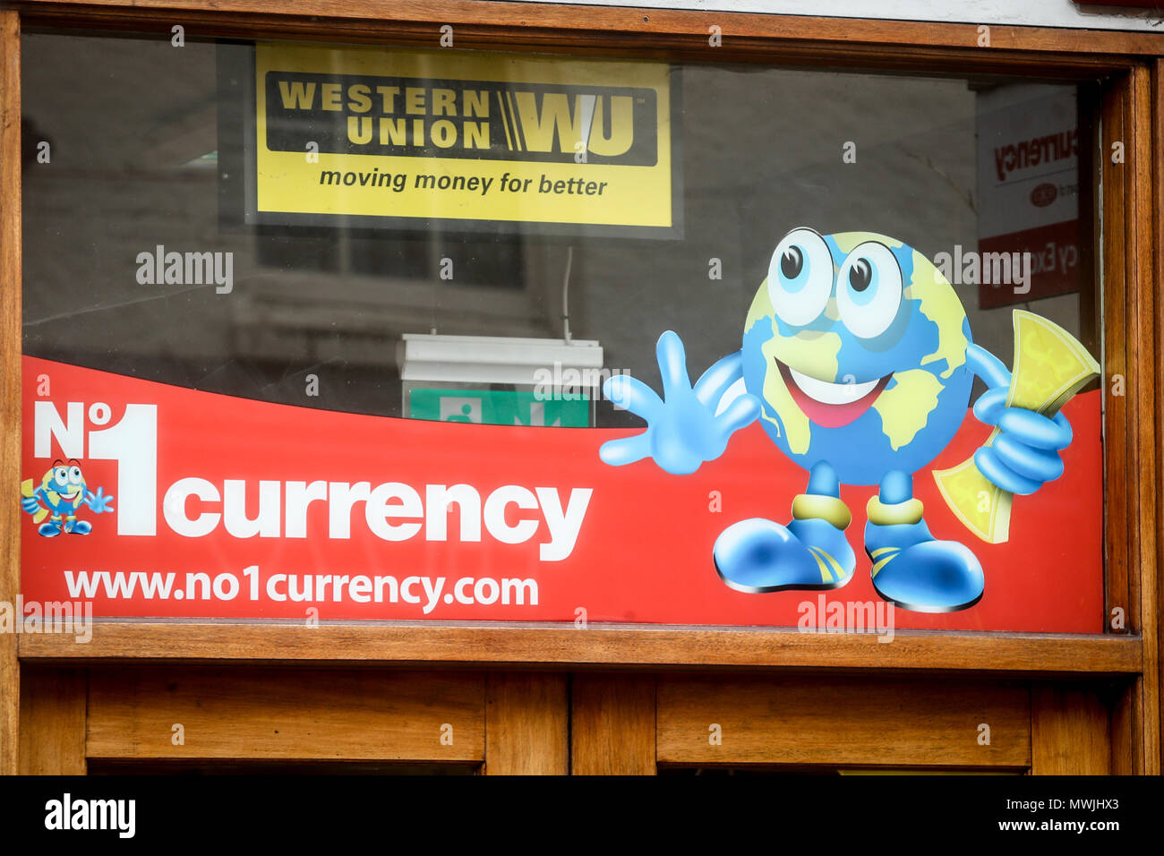Number 1 Currency money shop in Winchester, Hampshire - Stock Image
