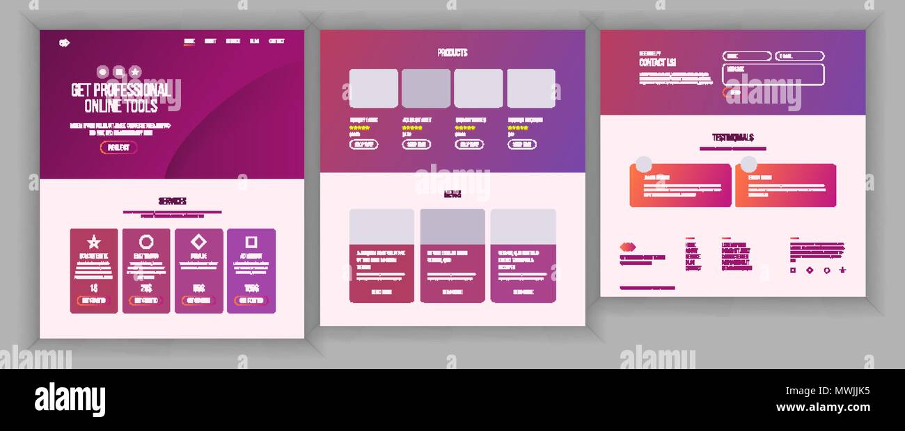 Web Page Design Vector. Website Business Style. Front End Site Scheme. Landing Template. Benefits Scheme. Interface Menu. Card Credit. Illustration - Stock Image