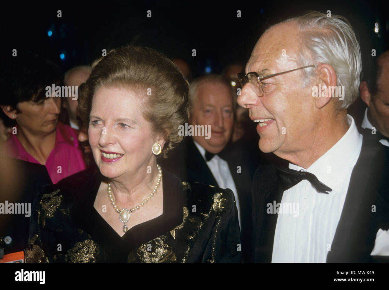 MARGARET THATCHER (1925-2013) Conservative Party leader with husband Denis about 1990 - Stock Image
