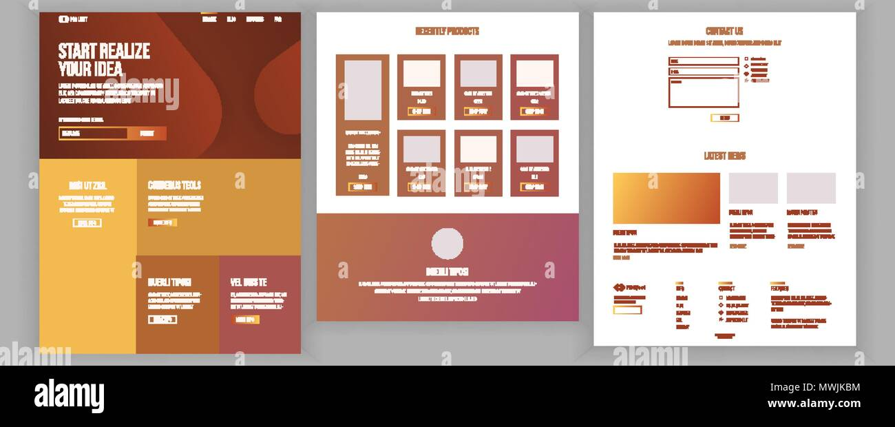 Main Web Page Design Vector Website Business Style Landing