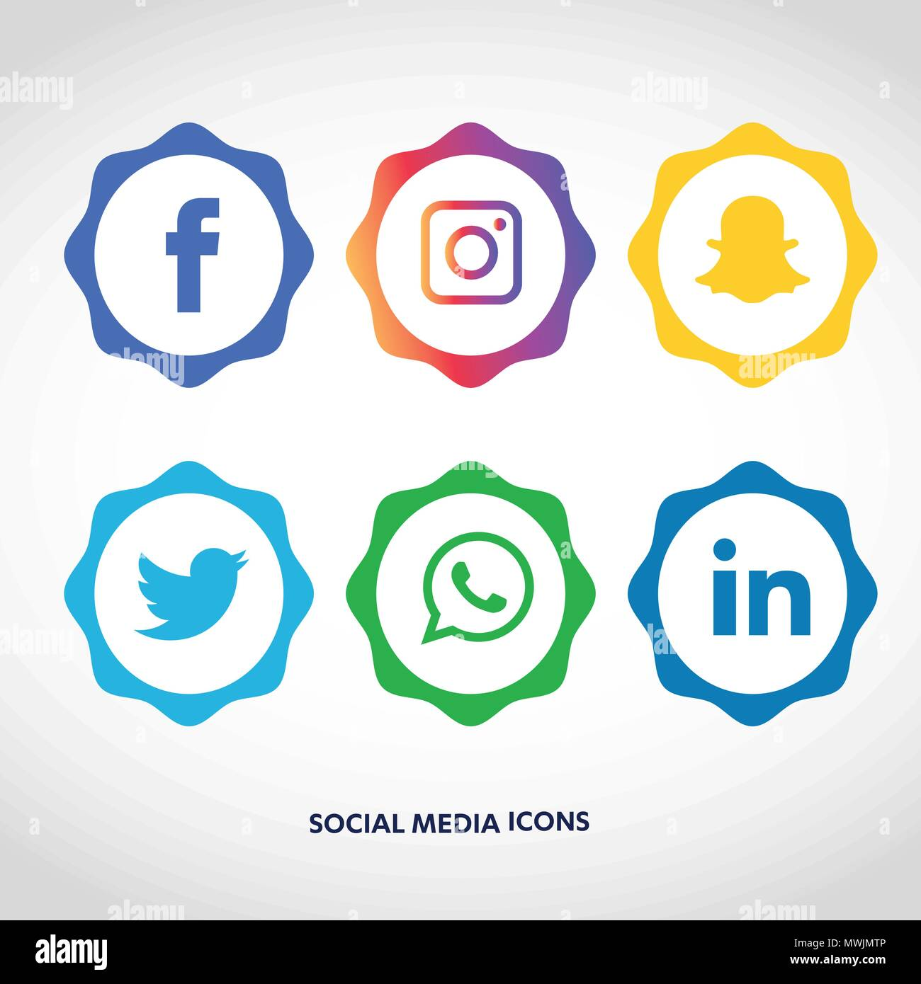 Vector Illustration Instagram: Social Media Icons Set. Logo Vector Illustrator. Facebook