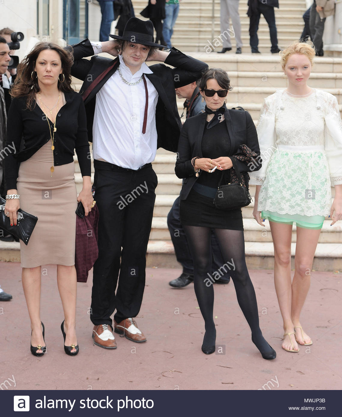 Lily Cole, Pete Doherty, Karole Rocher. Pete Doherty and Lily Cole attend a  photo call in Cannes.