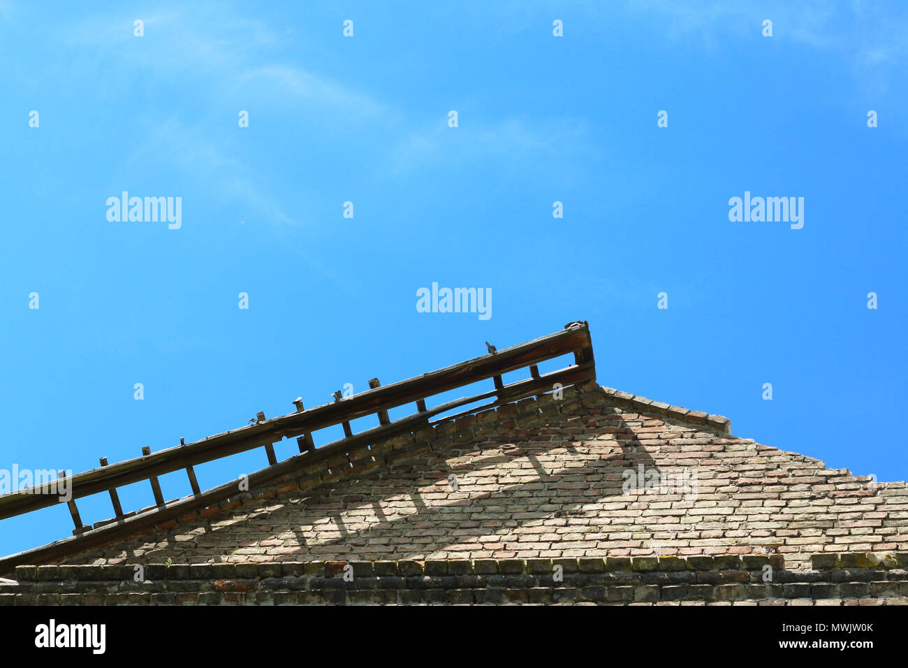 old castle roof and sky - Stock Image