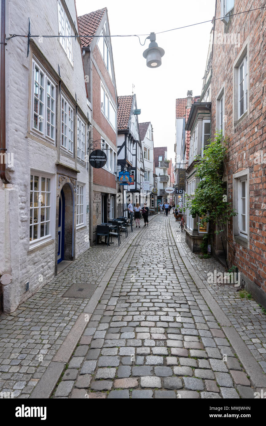 Schnoor is a neighbourhood in the medieval centre of the German city of Bremen, and the only part of it that has preserved a medieval character. - Stock Image