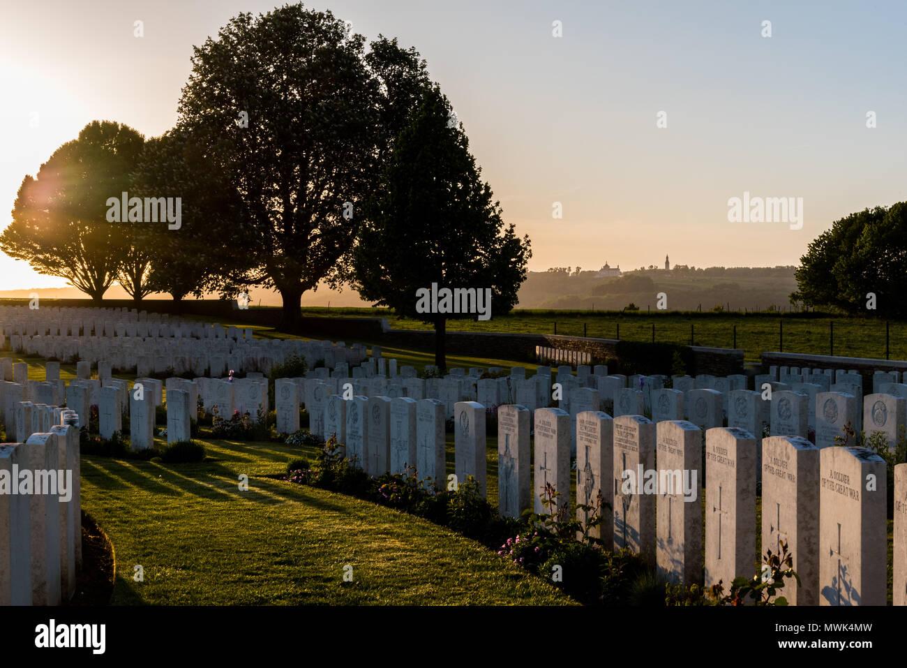 Cabaret Rouge British war cemetery at sunset, Souchez near Arras, northern France Stock Photo