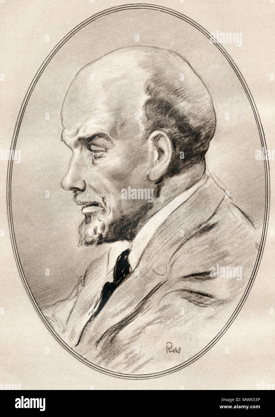Vladimir Ilyich Ulyanov, aka Lenin, 1870 - 1924.  Russian communist revolutionary, politician and political theorist.  Illustration by Gordon Ross, American artist and illustrator (1873-1946), from Living Biographies of Famous Men. - Stock Image
