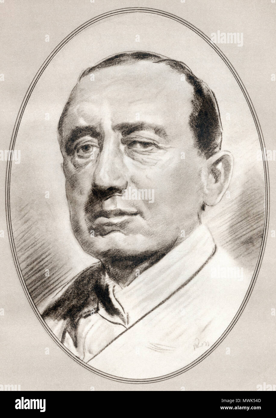 Guglielmo Marconi, 1st Marquis of Marconi, 1874 – 1937. Italian inventor and electrical engineer.  Illustration by Gordon Ross, American artist and illustrator (1873-1946), from Living Biographies of Famous Men. Stock Photo