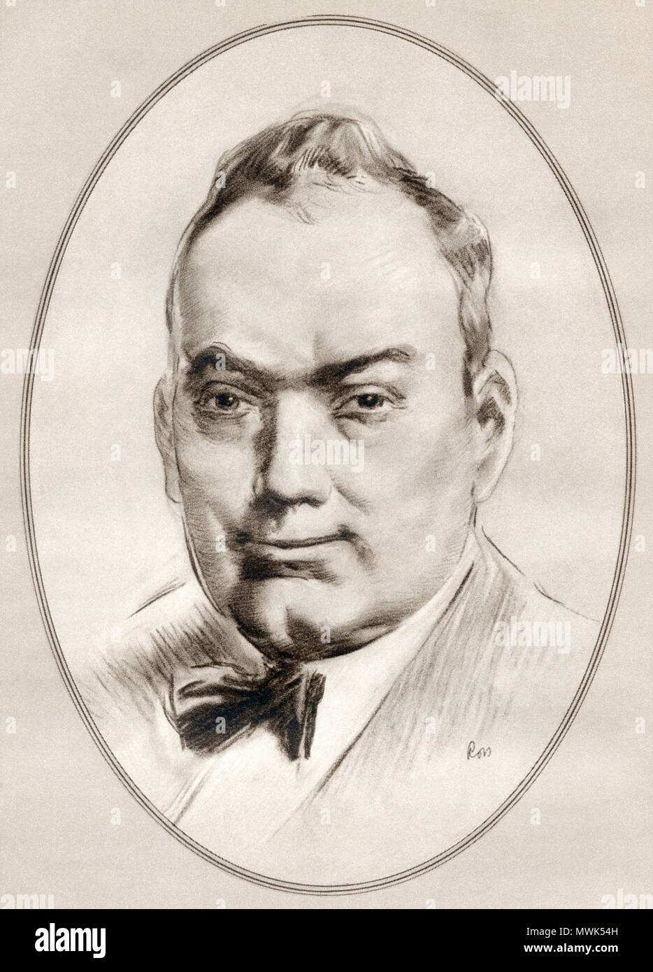 Enrico Caruso, 1873 –  1921.  Italian operatic tenor.  Illustration by Gordon Ross, American artist and illustrator (1873-1946), from Living Biographies of Famous Men. Stock Photo