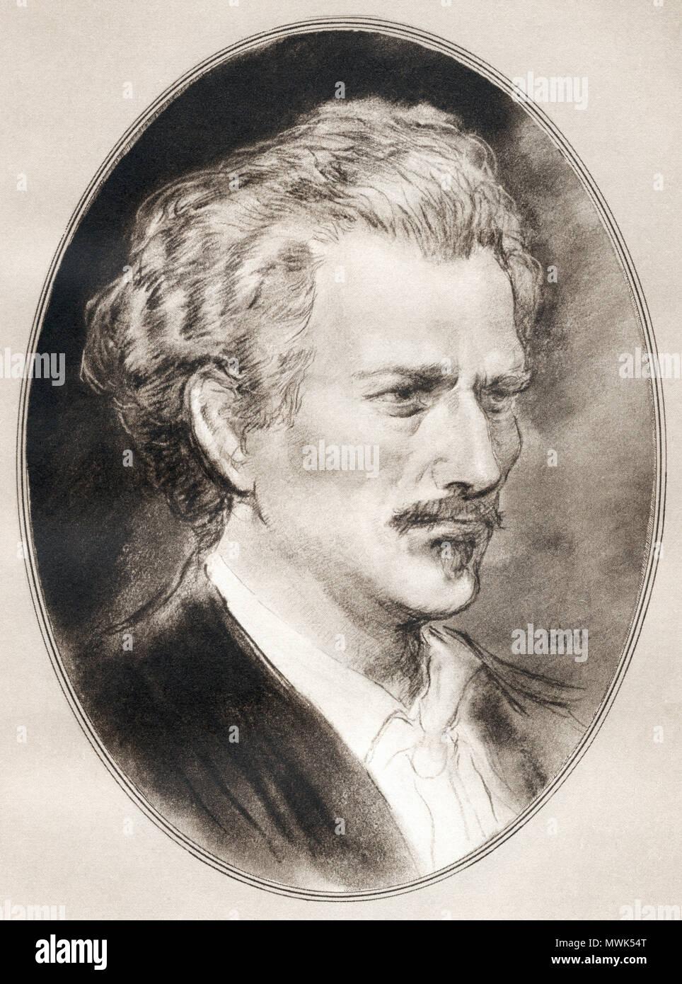 Ignacy Jan Paderewski, 1860 –  1941.  Polish pianist and composer, politician, statesman and spokesman for Polish independence.  Illustration by Gordon Ross, American artist and illustrator (1873-1946), from Living Biographies of Famous Men. - Stock Image