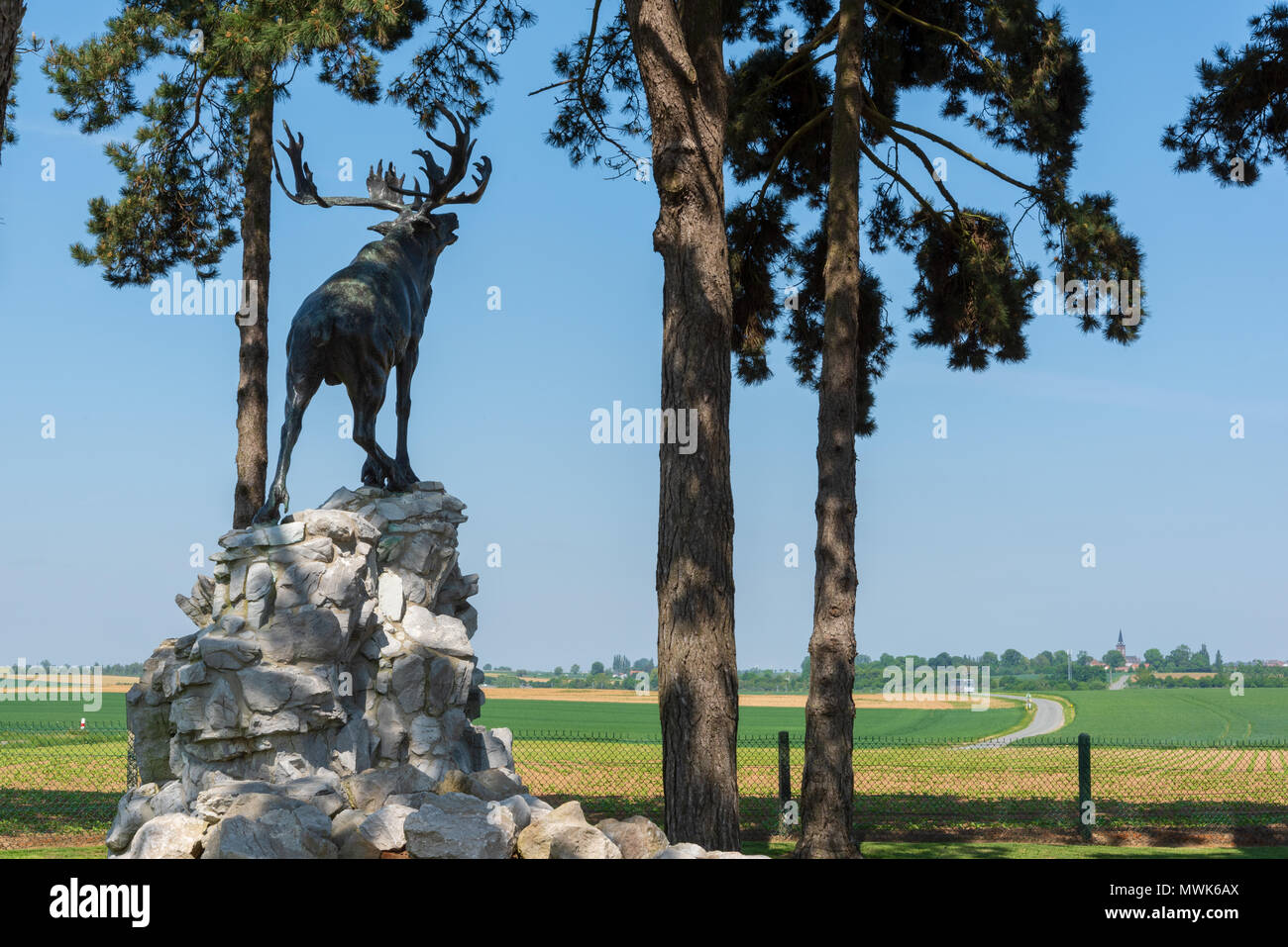 Gueudecourt Caribou Memorial, Newfoundland Memorial caribou statue overlooking Somme battlefield at Gueudecourt, Somme Stock Photo