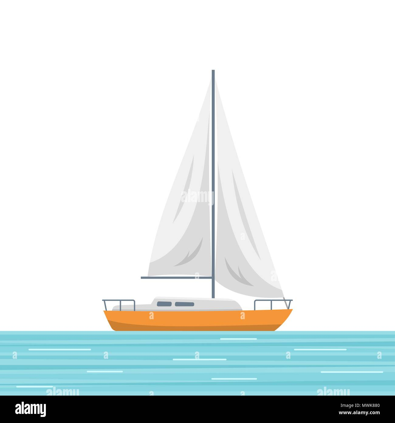 Sailboat isolated vector illustration - Stock Vector