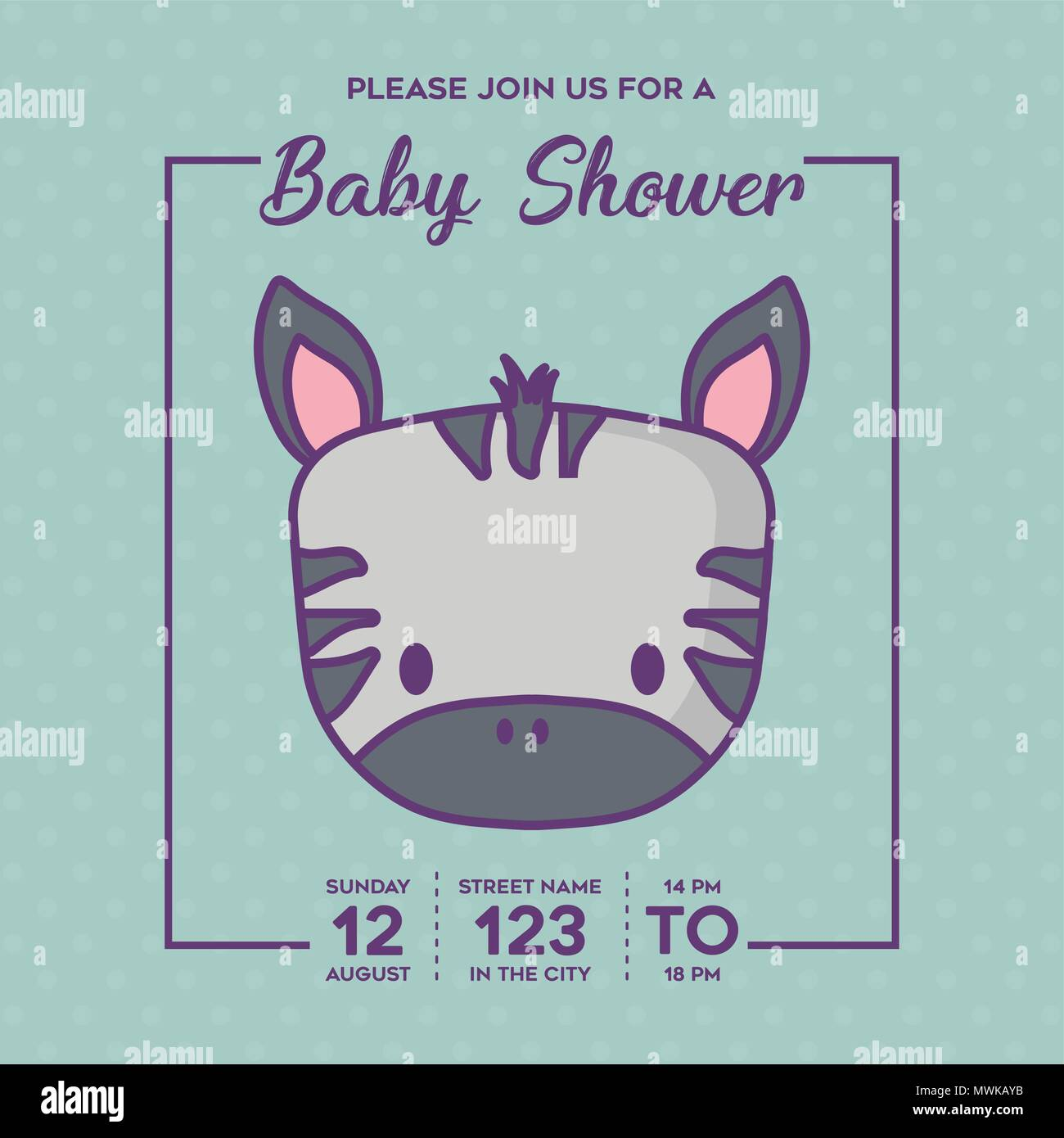 Baby Shower Invitation With Cute Zebra Icon Over Blue Background