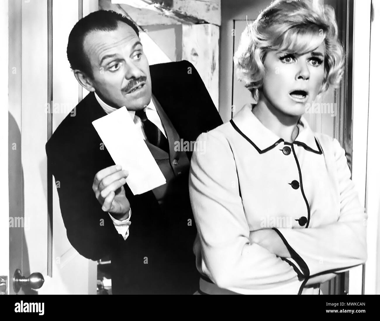TERRY-THOMAS (1911-1990)  English character actor with Doris Day in the 1968 film Where Were You When The Lights Went Out ? - Stock Image