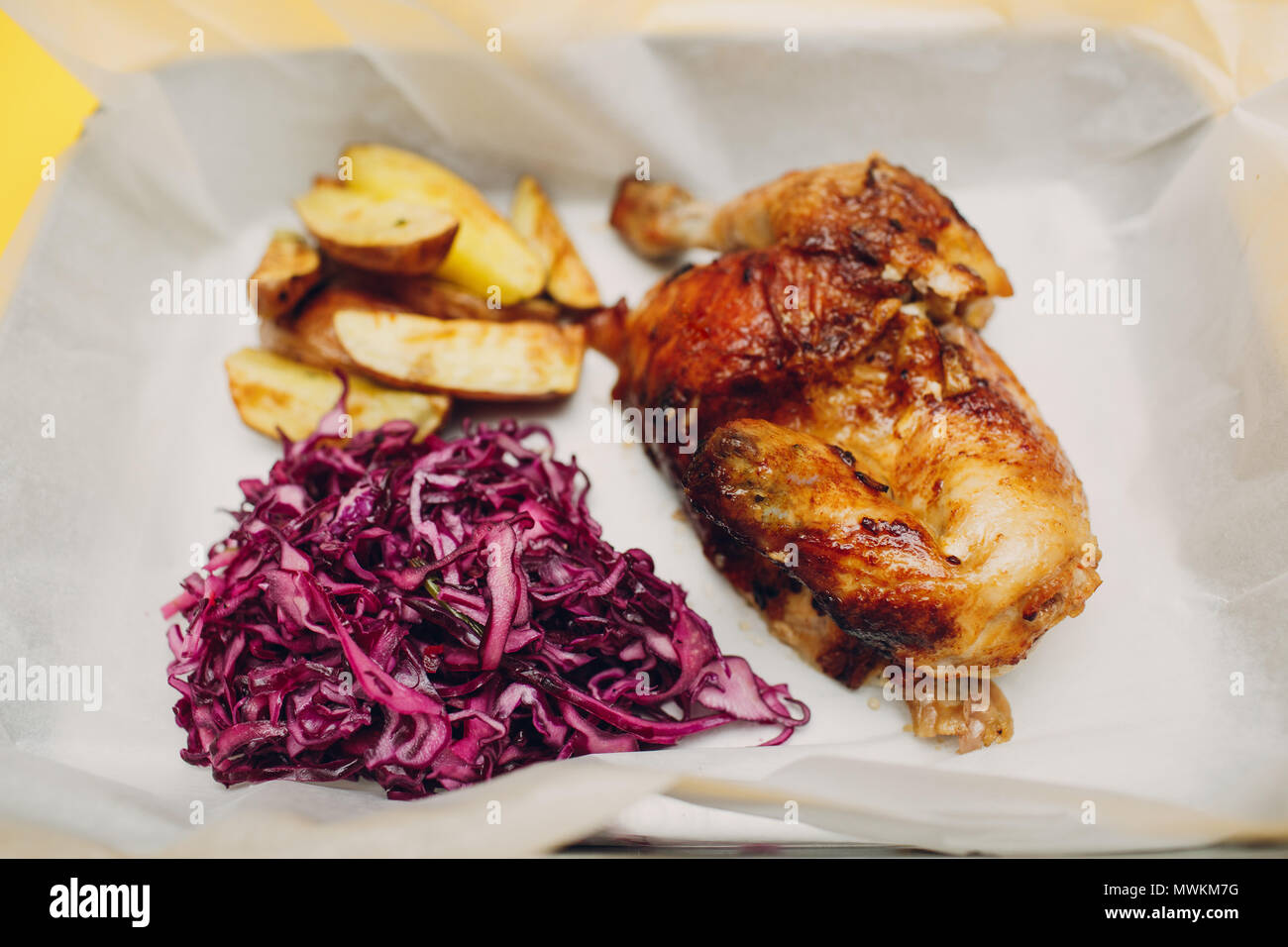 Food court concept  Grilled chicken with potato and cole