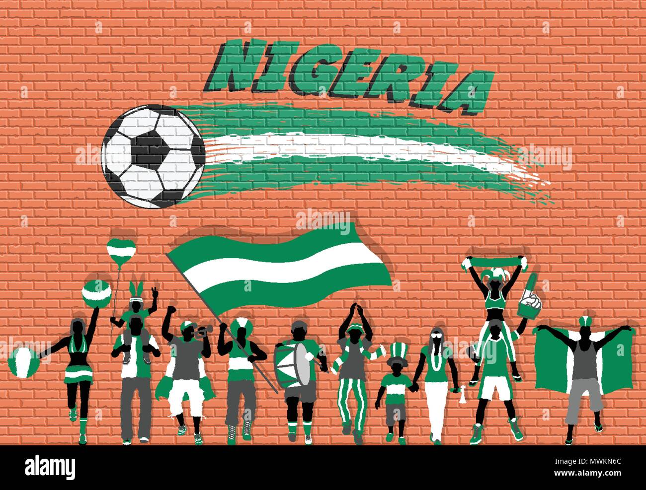 Nigerian football fans cheering with Nigeria flag colors in front of soccer ball graffiti. All the objects are in different layers and the text types  - Stock Vector