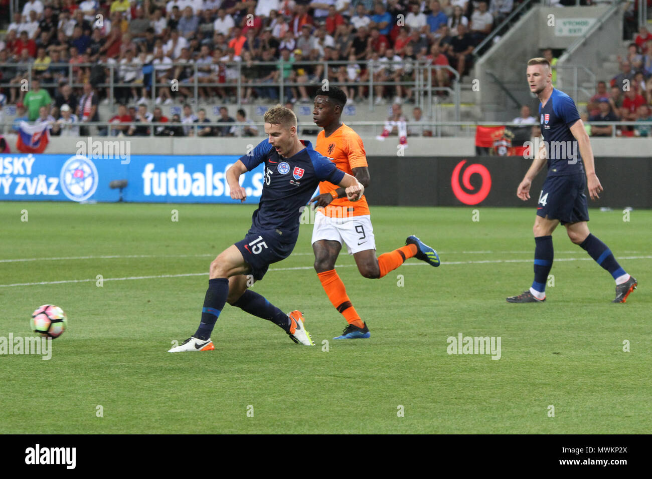 Trnava, Slovakia. 31st May, 2018. Tomas Hubocan (15) during the friendly football match between Slovakia and Netherlands (1 – 1). - Stock Image