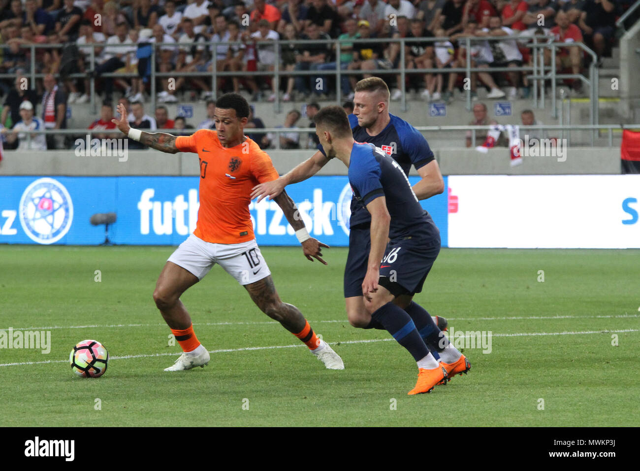 Trnava, Slovakia. 31st May, 2018. Memphis Depay (10) during the friendly football match between Slovakia and Netherlands (1 – 1). - Stock Image