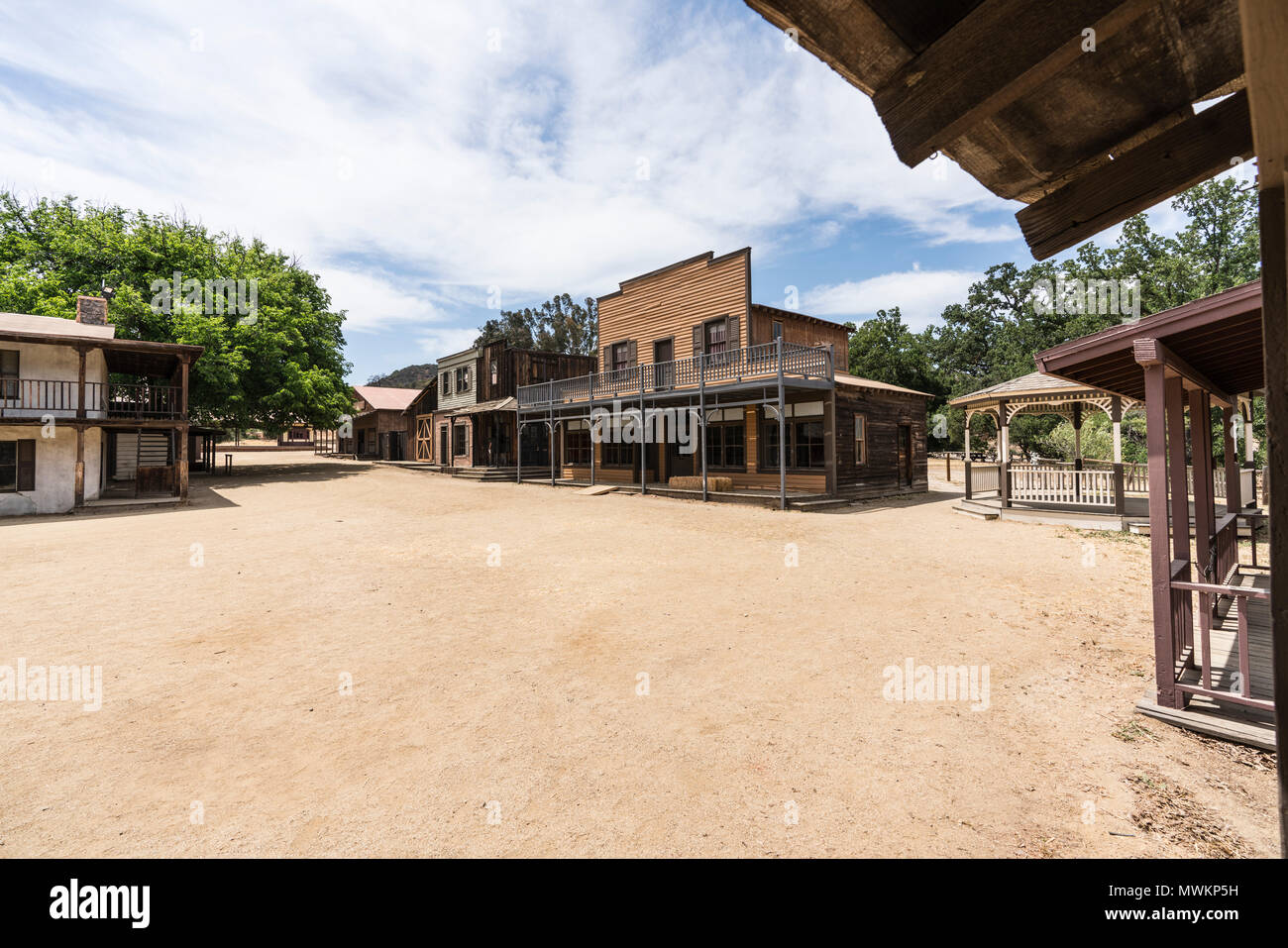 Historic movie set buildings owned by US National Park Service at Paramount Ranch in the Santa Monica Mountains National Recreation Area near Los Ange - Stock Image